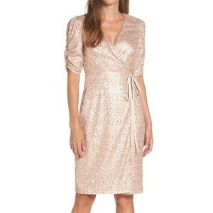 Eliza J rose gold sequin faux wrap dress